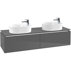 Villeroy & Boch Legato Waschtischunterschrank B789L0FP 160x38x50cm, mit LED-Beleuchtung, Glossy Grey