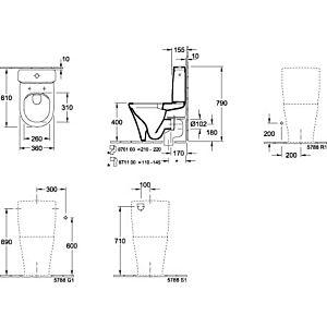 Villeroy & Boch O.Novo Spülkasten 5788S101 Zulauf seitlich oder von hinten, weiß