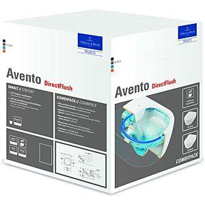Villeroy & Boch Avento Combi-Pack 5656RSR1 weiss Ceramicplus, spülrandlos, mit WC-Sitz 9M87S1