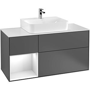 Villeroy und Boch Finion Waschtischunterschrank F162GJHB 120cm, Abdeckplatte black matt, Regal links Light grey matt, Peony Matt