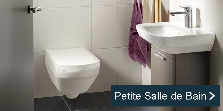 Produits compacts pour petite salle de bain.